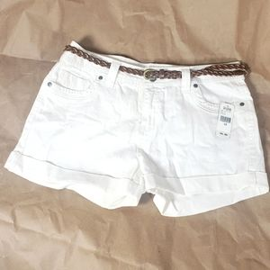 White Jean Shorts Size 12 with Brown Belt